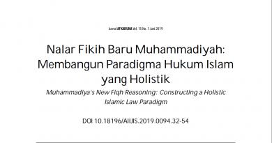 [Jurnal] Nalar Fikih Baru Muhammadiyah: Membangun Paradigma Hukum Islam yang Holistik